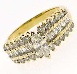 Stunning Marquise Diamond w Baguette & RBC Ring