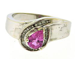 Beautiful Pear Pink Sapphire and Diamond Halo Ring