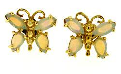 Lovely Opal Butterfly yellow Gold Earrings