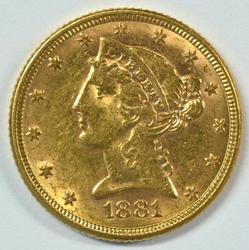 Flashy 1881 US $5 Liberty Gold Piece. Nice