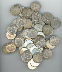 Large lot: 80 nice Silver Kennedy Half Dollars 1965-69