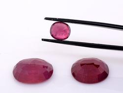 Dazzling Set of Three Oval-Cut Rubies, 26.36CTW