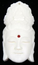 Hand Carved Kwan Yin Buddha Head Pendant