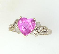 Solid White Gold Pink Sapphire & Diamond Ring