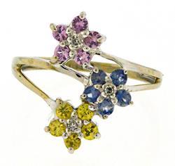 Fabulous White Gold Multi Color Gemstone & Diamond Ring