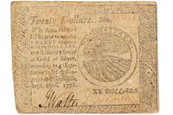 Continental Congress Sept 16 1778 $20 Note