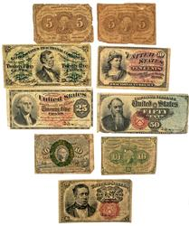 9 Pieces Fractional Currency