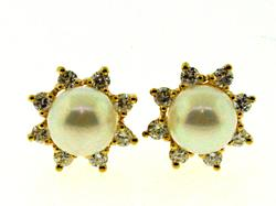 Classic Pearl and Diamond Yellow Gold Earrings