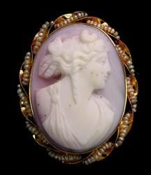 Antique Cameo Pin with Seed Pearls in Yellow Gold