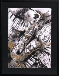 Smooth Jazz by Roselyn Rhodes, Original Mixed Media