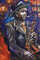 Jazz Man by Karenas I.N., Original Oil on Canvas