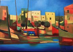 Port du Peche by Marcel Mouly, Original Acrylic on Canvas