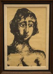 Portrait by Emmanuel Mane Katz, Ink Painting on Paper