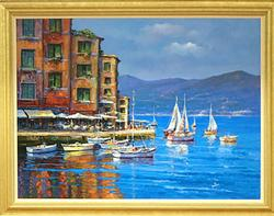 Italian Harbor by Alex Perez, Original Oil on Canvas