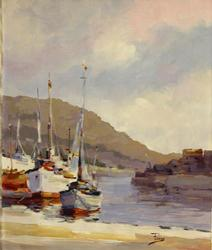 White Boats Pier by Alex Perez, Original Acrylic on Canvas