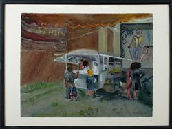At the Big Top by Irene Hodes Newman, Original Watercolor
