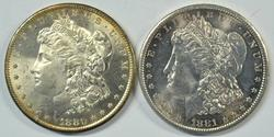 Superb Gem BU 1880-S & 1881-S Morgan Silver Dollars