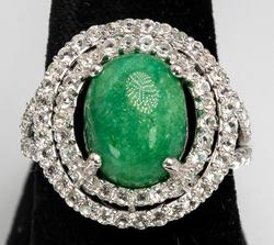 Darling Emerald & White Sapphire Ring, Sterling