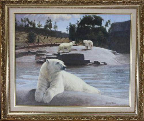 Polar Bears: San Diego Zoo by Richard R. Miller, Original Oil on Canvas