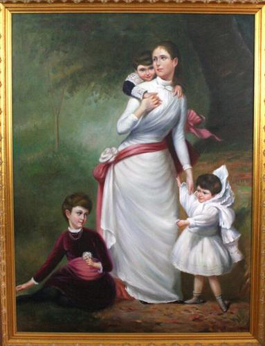 Family by D. Campopiano, Original Oil on Canvas