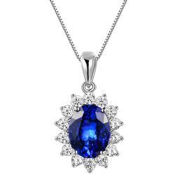 Oval Blue Gemstone w White CZ Necklace