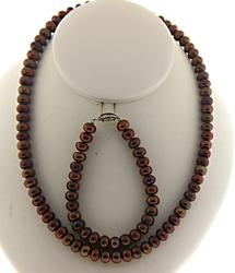 Brown Fresh water Pearl Necklace and Bracelet Set