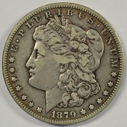 Sharp key date 1879-CC Morgan Silver Dollar. Upper end