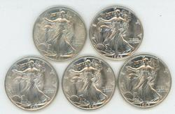 5 Diff. Choice BU Walking Liberty Half Dollars 1941-45