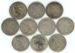 10 Assorted nice circulated Peace Silver Dollars