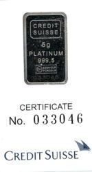 Pure .9995 Credit Suisse 5 gram Platinum bar in card
