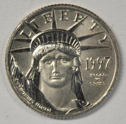 Superb Gem BU 1997 pure Platinum $10 Eagle coin