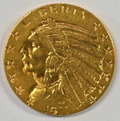 Flashy BU 1911-S $5 Indian Gold Piece. Better date