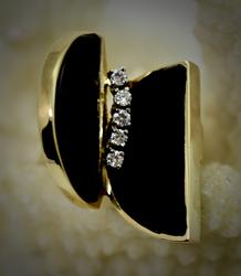 Unique Mid-Century Modern 14K Onyx & Diamond Ring