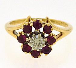 Beautiful Yellow Gold Diamond w Ruby Halo Ring
