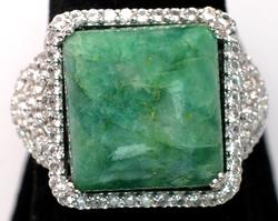 Gorgeous Huge 15.01CTW Cabochon Natural Emerald & Sapphire Ring in Sterling
