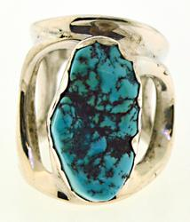 Sterling Silver Wide Open Turquoise Ring