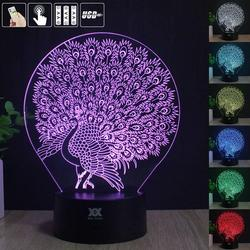 Peacock 3D Acrylic LED Night Light 7 Color Desk Lamp