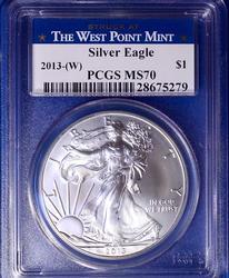 2013 (W) MS70 Silver Eagle PCGS