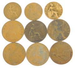 9 Early 1900's British Coins