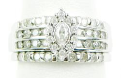 Stunning White Gold Diamond Encrusted Wide Ring, 7