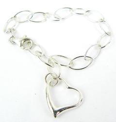 Sterling Silver Open Link Heart Bracelet