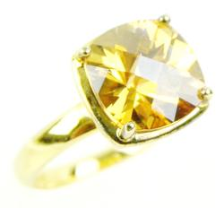 Big Sterling Vermeil Ring with Golden CZ, 8.25