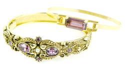 2 Vintage Costume Bangle Bracelets w/Purple Stones