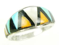 Sterling Ring with Inlaid Gemstones, Size 10
