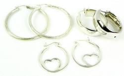 3 Pairs of Sterling Silver Hoop Earrings