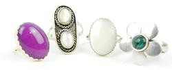 4 Vintage Gemstone Sterling Silver Rings