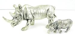 2 Peltro Italian Pewter Rhino Figures