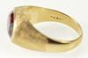 10K Yellow Gold Oval Crosshatch Textured Sim. Ruby Retro Men's Ring