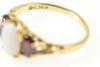 14K Yellow Gold Oval Opal Garnet Accent Three Stone Fashion Ring
