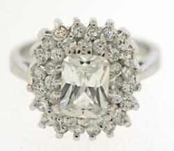 Sterling Silver Cubic Zirconia Crystal Ring